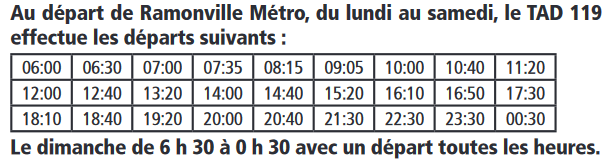 2019 03 TAD119 horaires